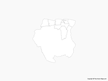 Map of Suriname with Districts - Outline