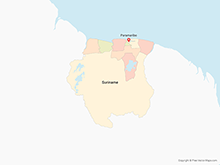 Map of Suriname with Districts - Multicolor