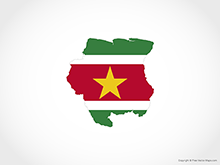 Map of Suriname - Flag