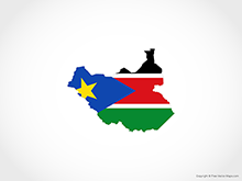 Map of South Sudan - Flag
