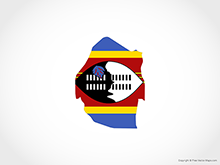 Map of Swaziland - Flag