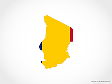 Map of Chad - Flag