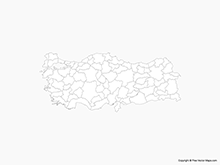 Map of Turkey with Provinces - Outline