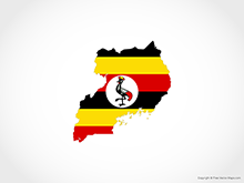 Map of Uganda - Flag