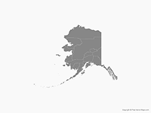 Map of Alaska with Counties - Single Color