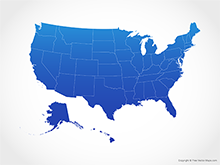 Map of United States of America with States - Blue