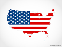 Map of United States of America - Flag