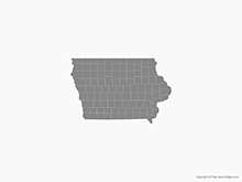 Map of Iowa with Counties - Single Color