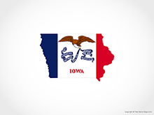 Map of Iowa - Flag