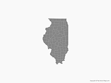 Map of Illinois with Counties - Single Color