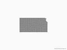 Map of Kansas with Counties - Single Color