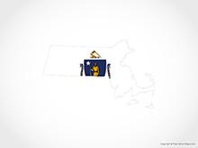 Map of Massachusetts - Flag