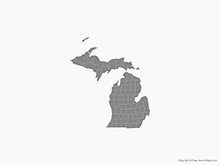 Map of Michigan with Counties - Single Color