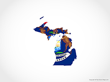 Map of Michigan - Flag