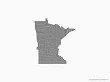 Map of Minnesota with Counties - Single Color