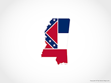 Map of Mississippi - Flag