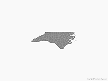 Map of North Carolina with Counties - Single Color
