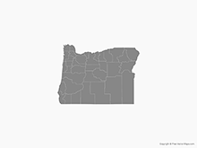 Map of Oregon with Counties - Single Color