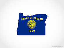 Map of Oregon - Flag