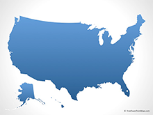 Map of United States of America - Blue (PowerPoint)