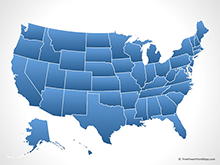 Map of United States of America with States - Blue (PowerPoint)