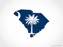 Map of South Carolina - Flag