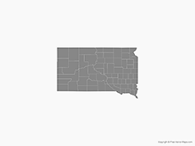 Map of South Dakota with Counties - Single Color