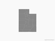 Map of Utah with Counties - Single Color
