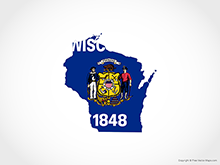 Map of Wisconsin - Flag