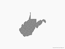 Map of West Virginia with Counties - Single Color