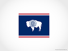 Map of Wyoming - Flag