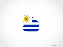 Map of Uruguay - Flag