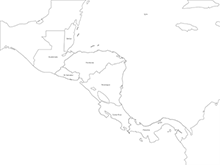 Map of Central America with Countries - Outline (PowerPoint)