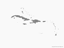 Map of Caribbean Islands with Countries - Single Color