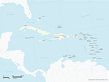 Map of Caribbean Islands with Countries