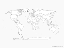 Map of World with Countries - Outline