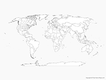 Map of World with Countries and US, Canadian and Australian States - Outline