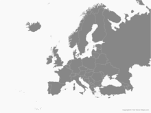 Map of Europe with Countries - Single Color