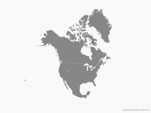 Map of North America with Countries - Single Color