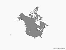 Map of North America with the United States and Canada - Single Color