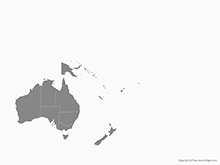 Map of Oceania with Countries including Australia with States - Single Color