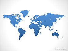 Free Vector Map of World - Blue (PowerPoint)
