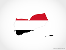 Map of Yemen - Flag