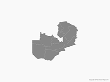 Map of Zambia with Provinces - Single Color