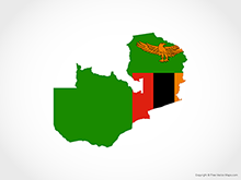 Map of Zambia - Flag