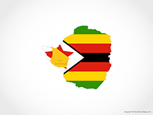 Map of Zimbabwe - Flag