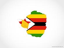 Map of Zimbabwe - Flag
